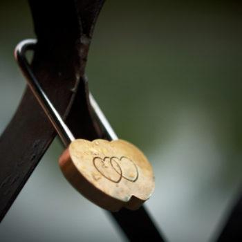 Wedding Hinged Lock With Hearts, Vintage Photo.
